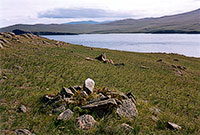 Ancient burial grounds near Lake Khankhoy. Olkhon's north coast.