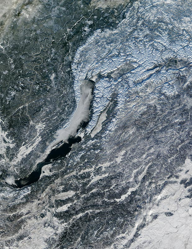 Baikal in winter, view from space.