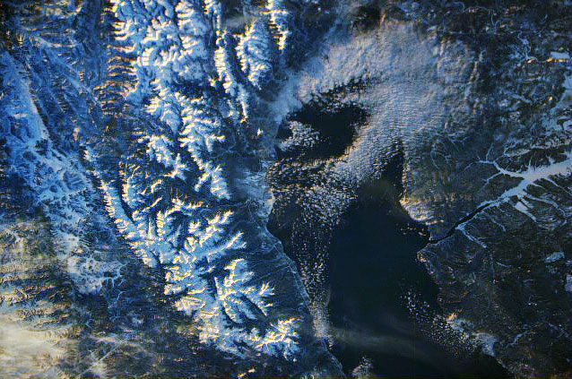 Space image of the south part of Lake Baikal.