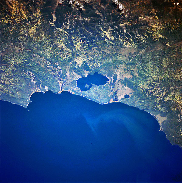 Photograph of lakes Baikal and Kotokelskoe from space.